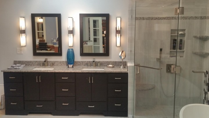 Custom-vanity-frameless-shower-raleigh