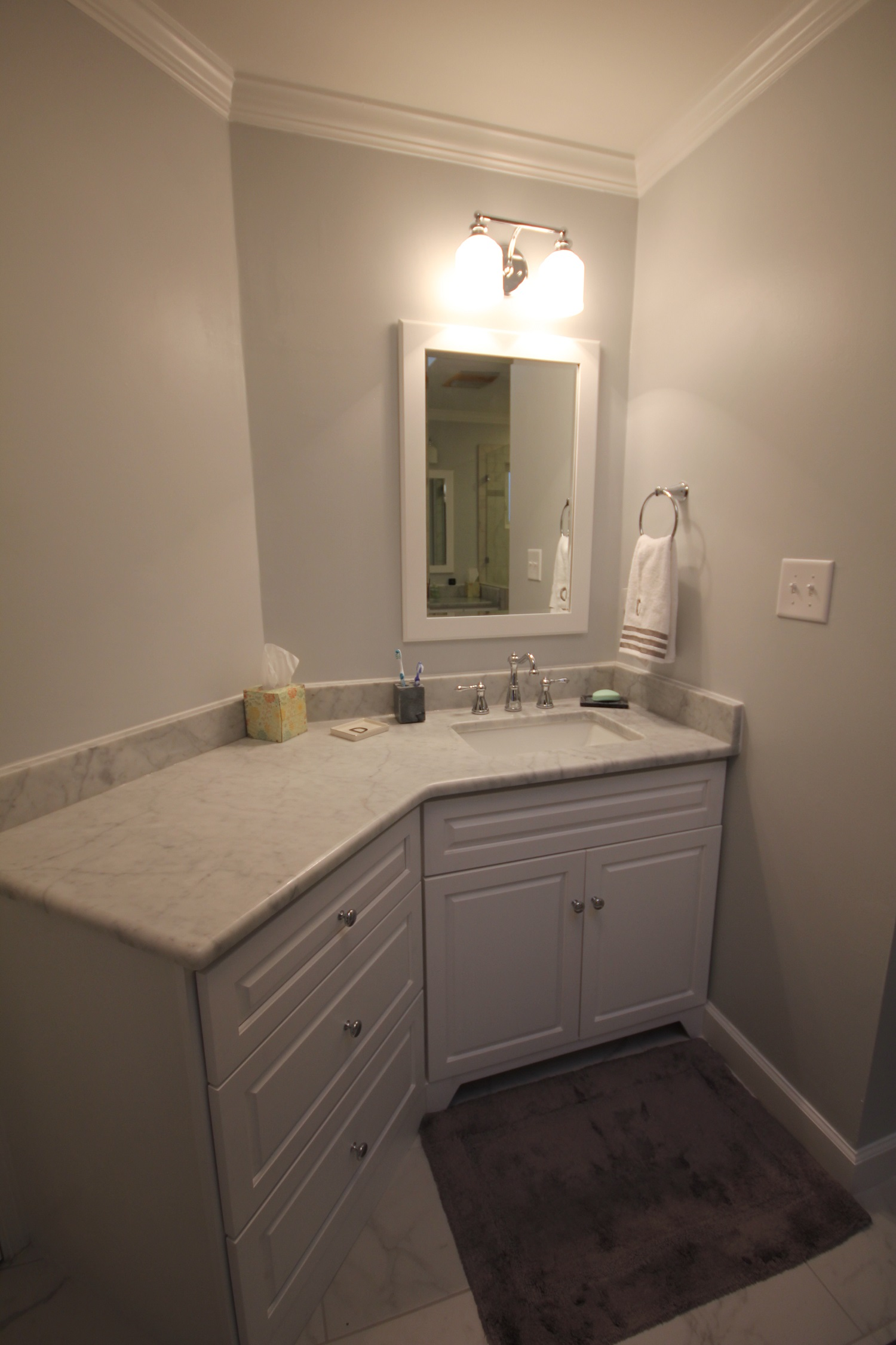 Light colored custom cabinets the bath remodeling center for Apex kitchen cabinets