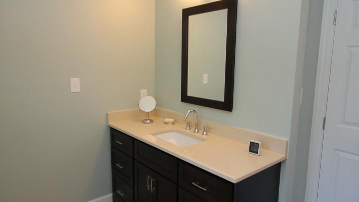 dark custom bath cabinets