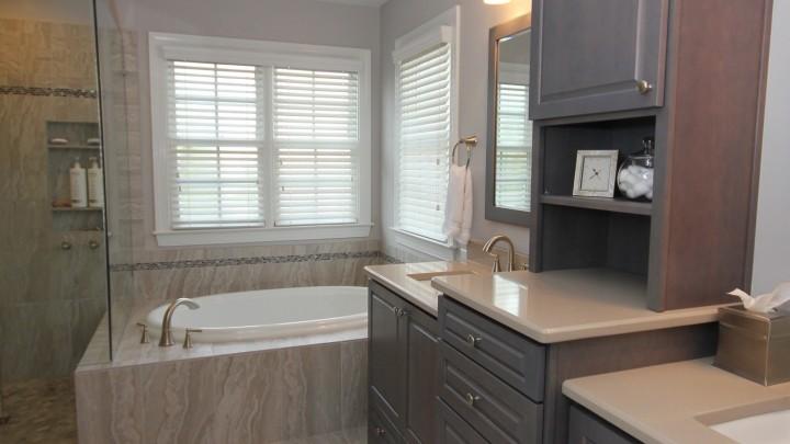 dark wood custom bath cabinets