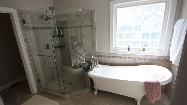 Clawfoot tub featured in Cary, NC Bath remodel