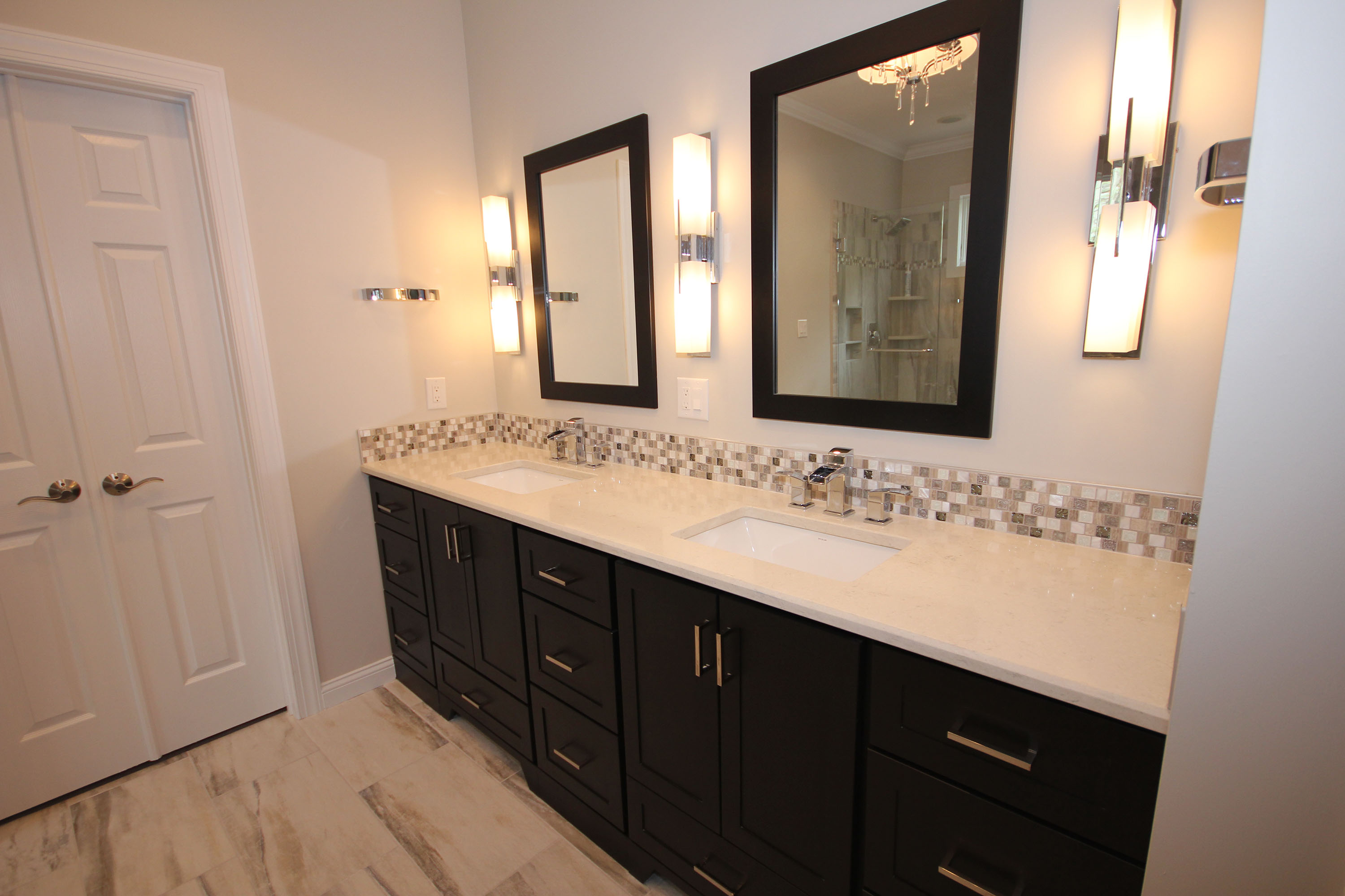 Dark cabinets with light countertops bathroom home for Dark cabinets light countertops
