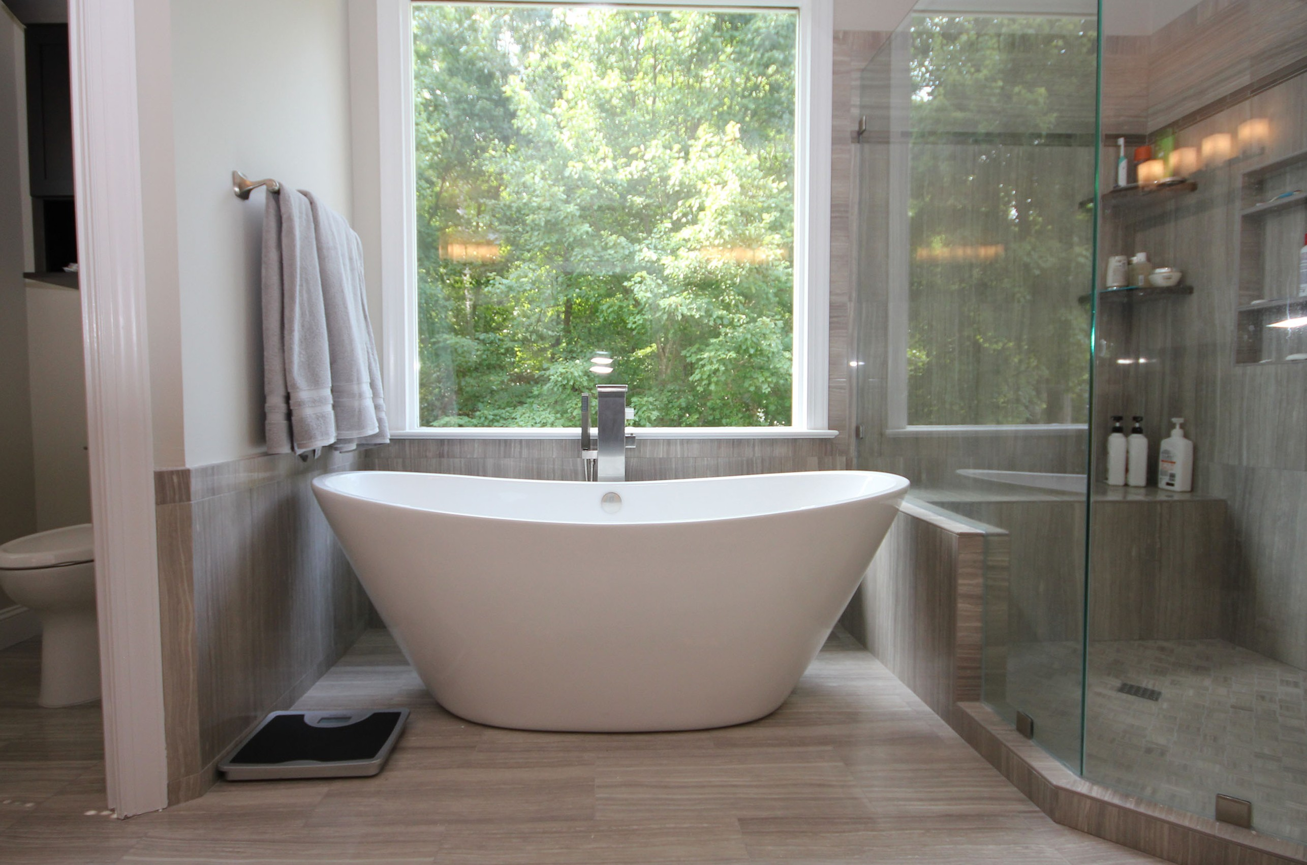 freestanding tub in raleigh bath remodel view image