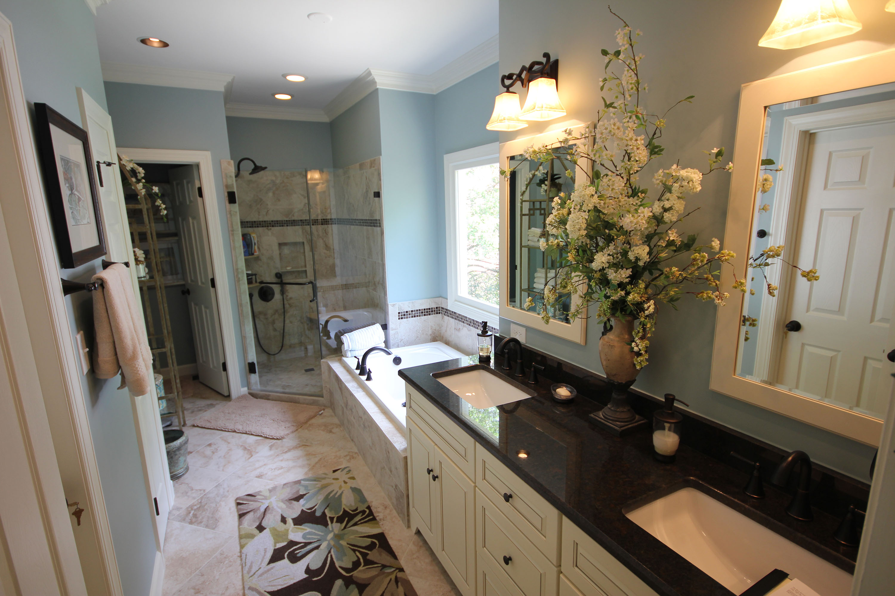 Light colored custom cabinets the bath remodeling center for Bath remodel raleigh